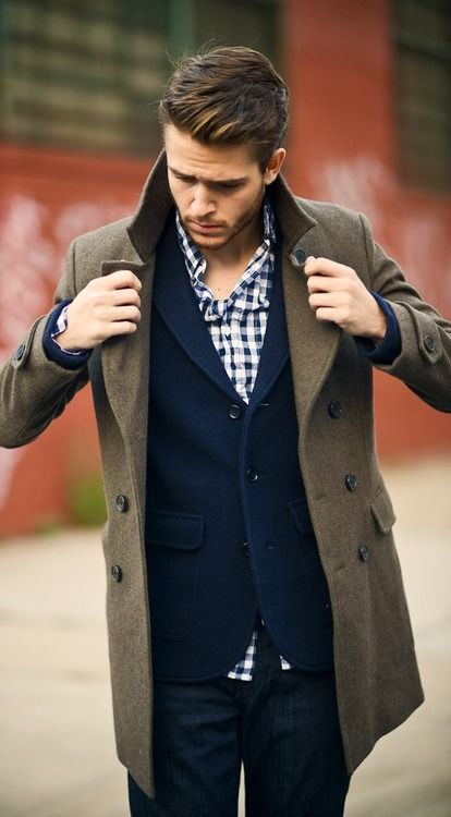 Layers, blue check, navy sport jacket, overcoat