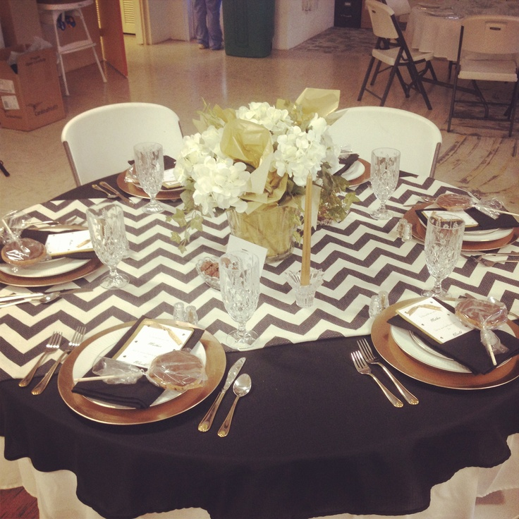 Mothers Day Banquet table! ;) Chevron with gold accents.