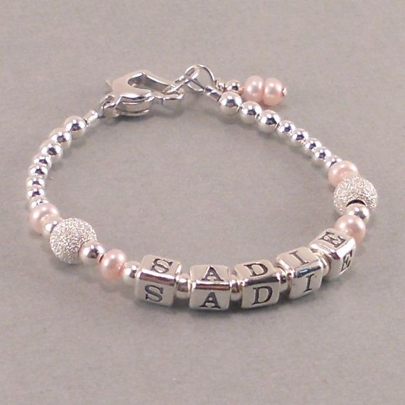 Baby Girl Gift, Baby Name Bracelet, Sterling silver, first birthday bracelet, personalized, present, pink pearls, infant jewelry, childrens