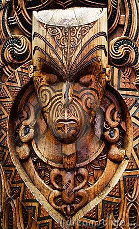 Traditional carved maori plate. North Island, New Zealand
