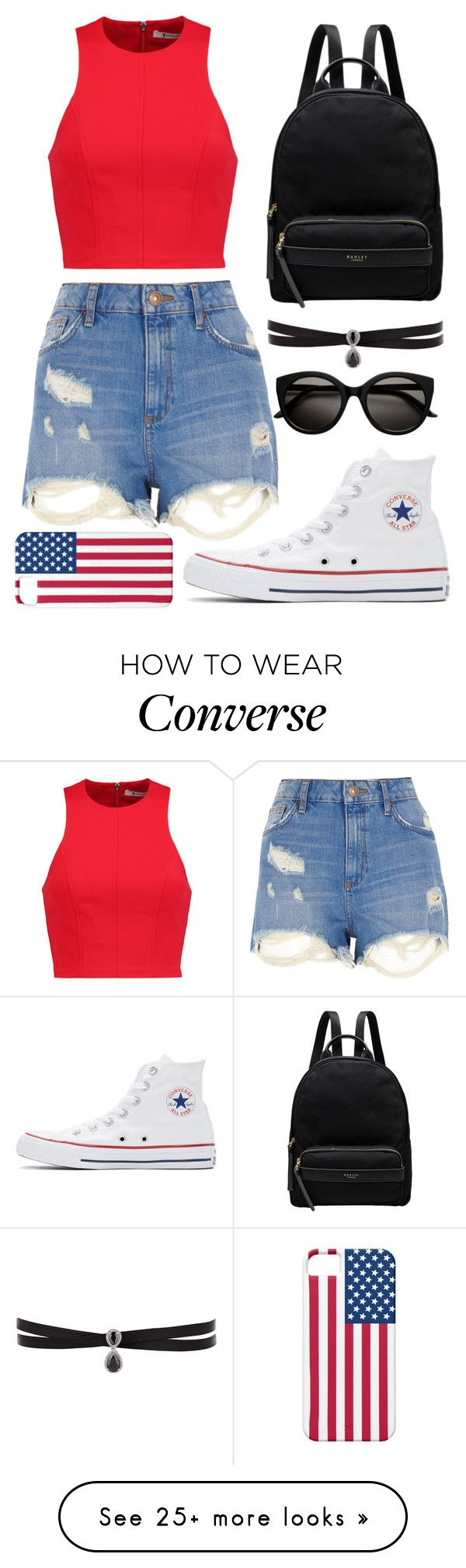 """What do you mean I missed the 4th of July?"" by megxnoelle on Polyvore featuring T By Alexander Wang, Converse, River Island, Fallon and Radley"