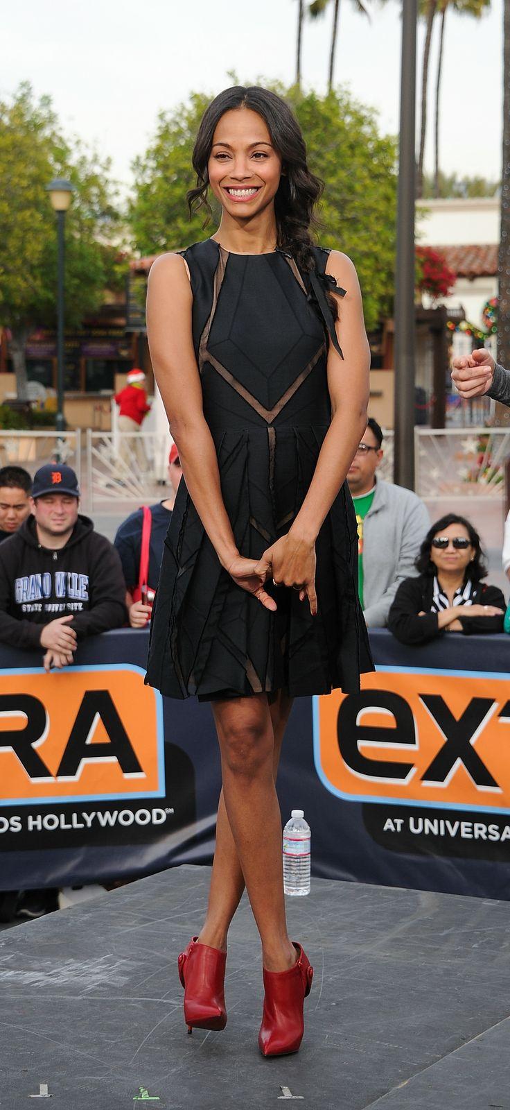 Zoe Saldana wears ELIE SAAB Resort 2014 to her 'Extra' visit at Universal Studios Hollywood.