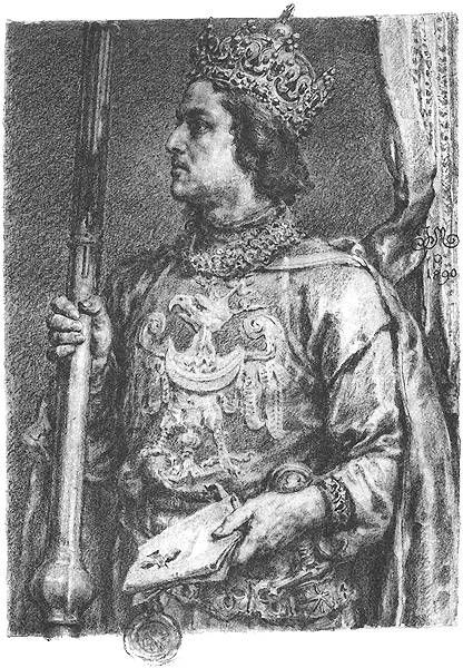 Przemysl II - Przemysł II (also given in English and Latin as Premyslas or Premislaus, Polish: Przemysł or less properly Przemysław) (14 October 1257 – 8 February 1296) was the Duke of Poznań, Greater Poland, Kraków and Pomerelia, and then King of Poland from 1295 until his death. After a long period of polish High Dukes, and two nominal kings, he was the first to obtain the hereditary title of King, and for Poland the rank of Kingdom.