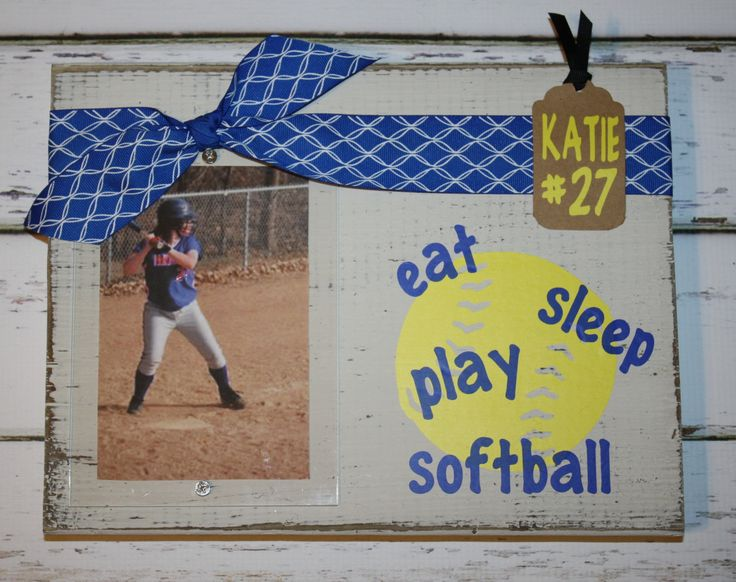 Custom Softball Wood Block Picture Frame-Sports Fan Frame, Eat, Sleep, Ply Softball, Design Your Own Sport, Athete gift, Sports Frame by GOalphabetsoup on Etsy