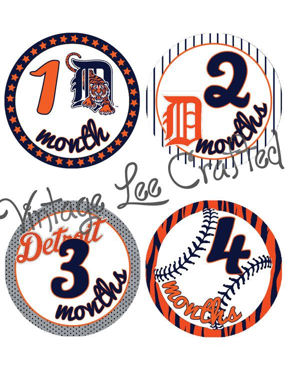 Baby onesie milestone monthly stickers - detroit tigers baseball