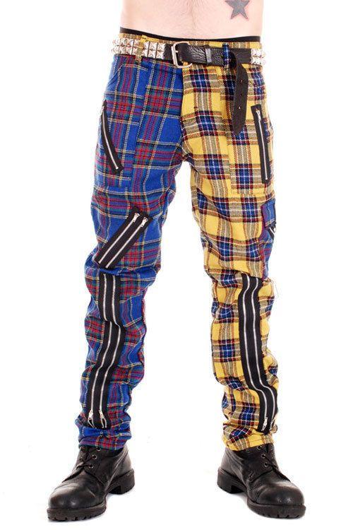 Punk Rock Split Leg Bondage Pants Blue/Yellow Tiger of London Original UK