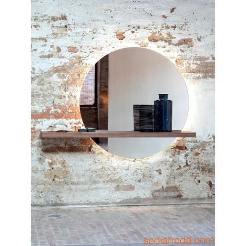 Sunset 7501 - Miroir avec étagère en noyer Canaletto