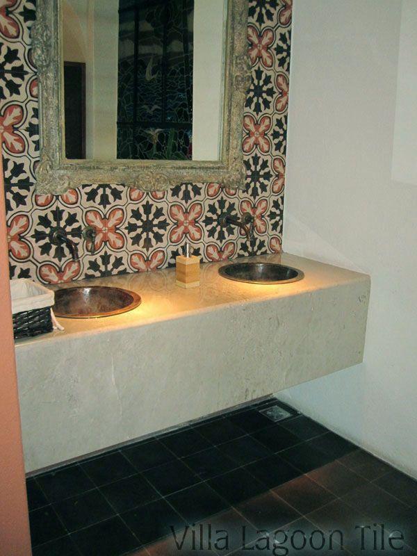villalagoontile.com this one ouot of stock Avallon cement tile backsplash in an elegant restaurant