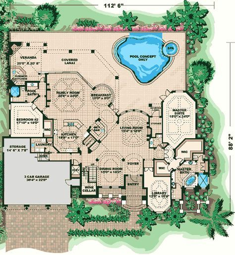 Mediterranean Dreamscape - 66020WE | Florida, Mediterranean, Spanish, Luxury, Photo Gallery, Premium Collection, 1st Floor Master Suite, CAD Available, Den-Office-Library-Study, Elevator, MBR Sitting Area, Media-Game-Home Theater, PDF, Split Bedrooms | Architectural Designs