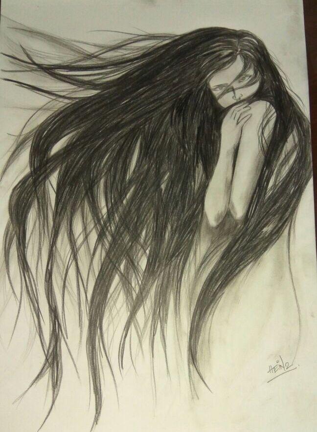 Her Drawings Long Messy Hair Hair Sketch Wild Hair