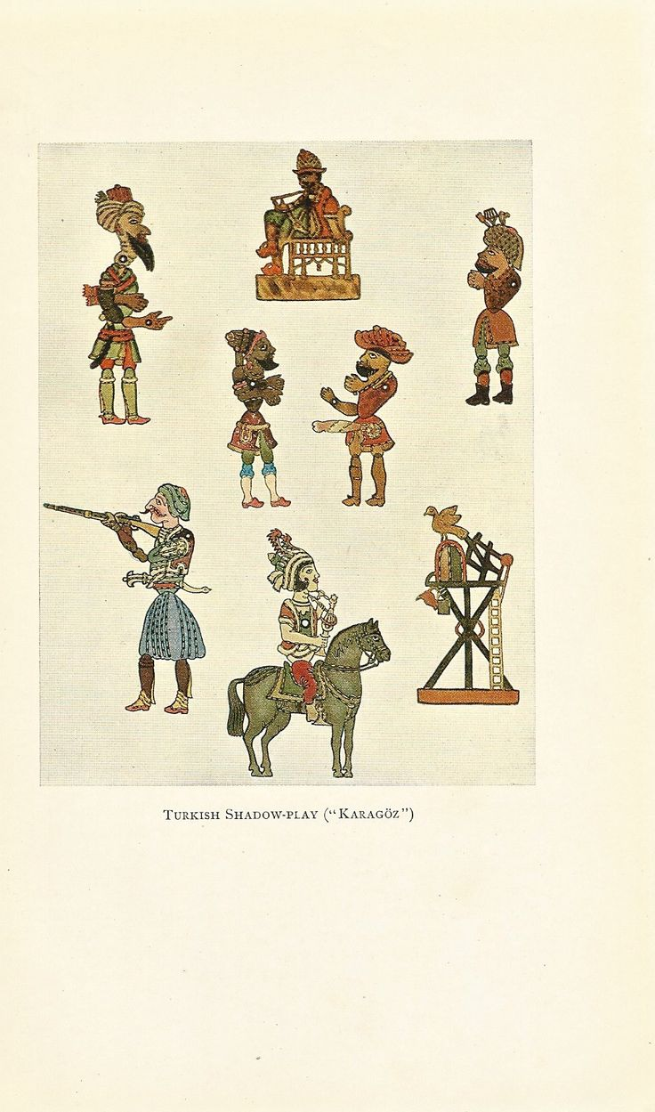 "Turkish Shadow-Play (""Karagoz""), a 1932 print from Max von Boehn's Dolls and Puppets. ($7.50 for 10 puppet prints) Available at http://www.uncannyartist.com/products/1932-prints-puppets."