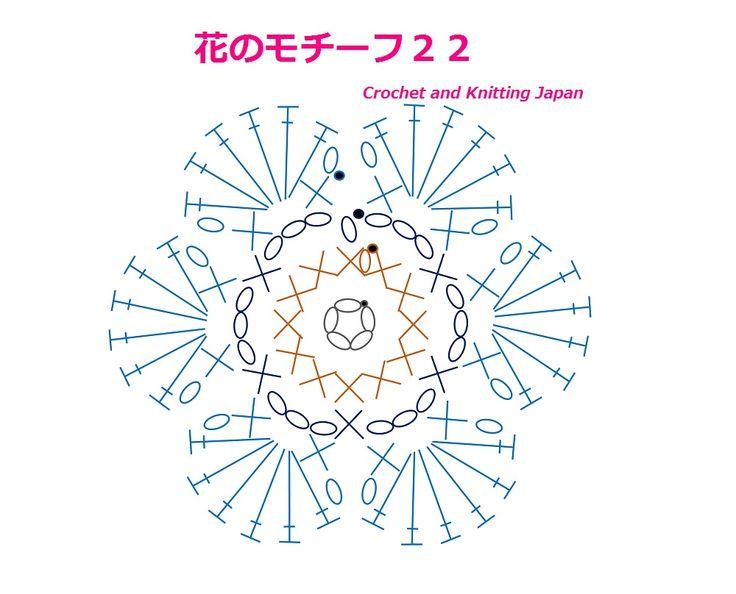 花のモチーフ 22【かぎ針編み】編み図、字幕、音声で解説 How to Crochet Flower Motif https://youtu.be/DmqtoYJvymg 6枚の花びらが、可愛い、花のモチーフです。 くさり編み5目の輪の作り目から、 1段目は、細編み12目を編みます。 2段目は、細編みと、くさり編み3目です。 3段目は、細編み1目、くさり編み1目、長編み6目、くさり編み1目、細編み1目、の花びらを編みます。