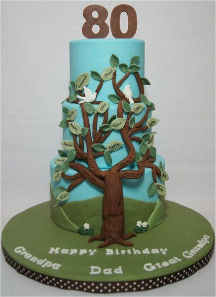Family Tree for Dad's 80th Birthday - by whitecrafty @ CakesDecor.com - cake decorating website