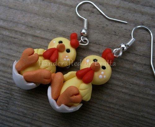 Easter Chicken Earrings  Worldwide Free shipping by EviJewelry