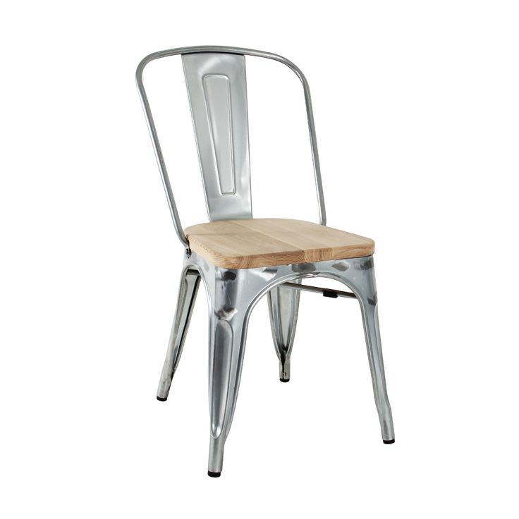 Tolic Chair in galvanised with timber seat Indoor use only  Gloss galvanised finish