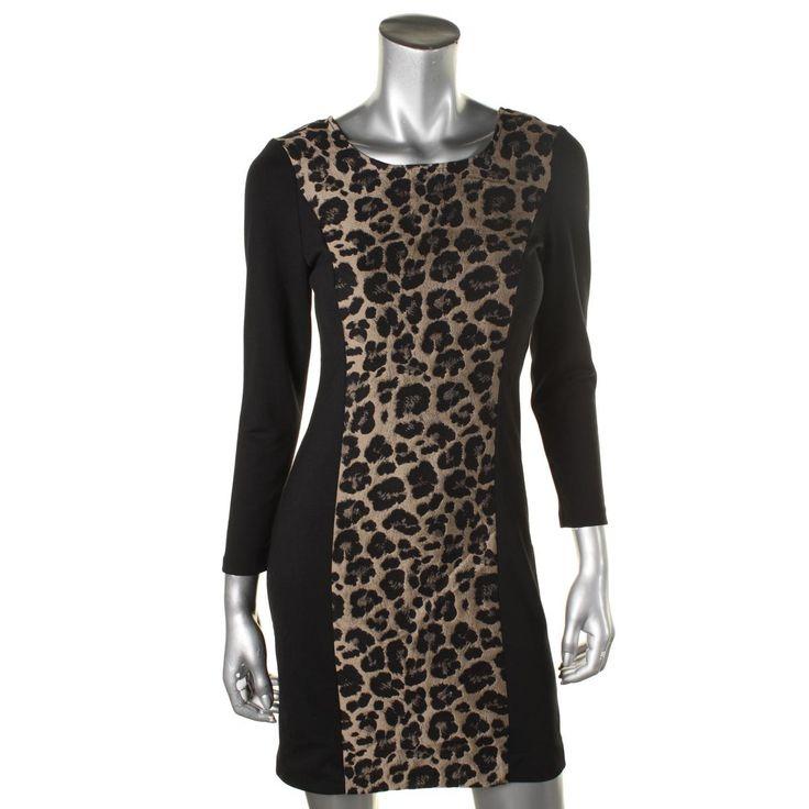 Kensie Womens Animal Printed 3/4 SLeeves Wear to Work Dress
