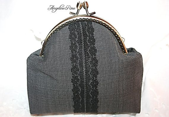 gray purse gray clutch lace  purse lace by AngelineRosePurse
