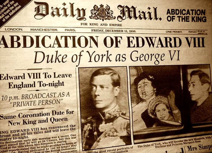 edward viii abdication essay Edward was born on 23 june 1894 in richmond, surrey, the eldest child of the duke of york he was always known in his family as david, one of many middle names in 1910, edward's father became george v and edward, prince of wales he joined the grenadier guards in world war one, although he was not.