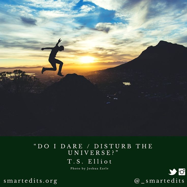 """Do I dare / disturb the universe?"" - #TSElliot  #QOTD #LiteraryQuotes #365Quotes #DailyQuotes #Literature #Reading #Books #WordsofWisdom #WiseWords #BookLove #Book #Novel #Authors #Writer #Inspiration #DailyInspiration #BookNerd #Bookworm #Classics"