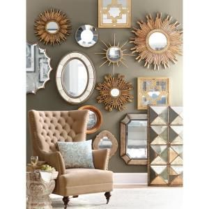 3R Studios Sunburst 23.5 in. H x 23.5 in. W Framed Wall Mirrors in Gold (Set of 2)