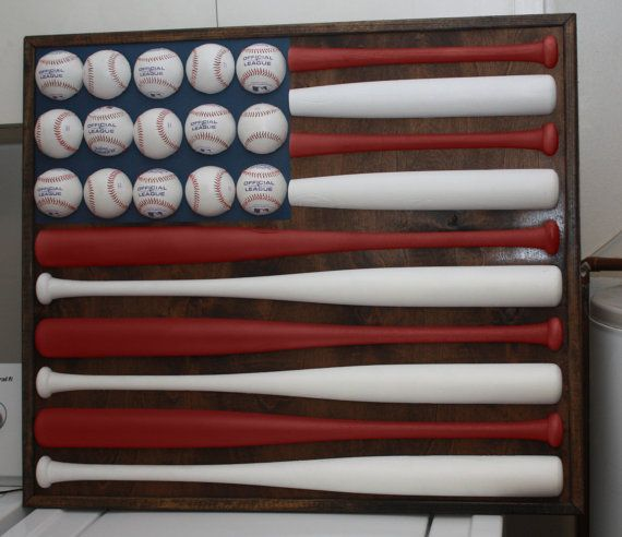 Great for the sport's themed basement wall-Red White Blue Baseball Bat & Ball American Flag by maegirl1983, $300.00
