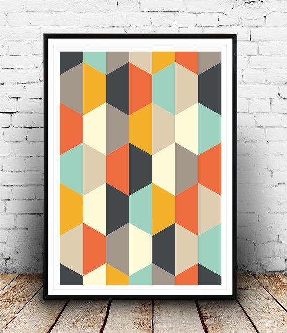 Geometrische Art Print abstracte deel Mid Century Art door Wallzilla