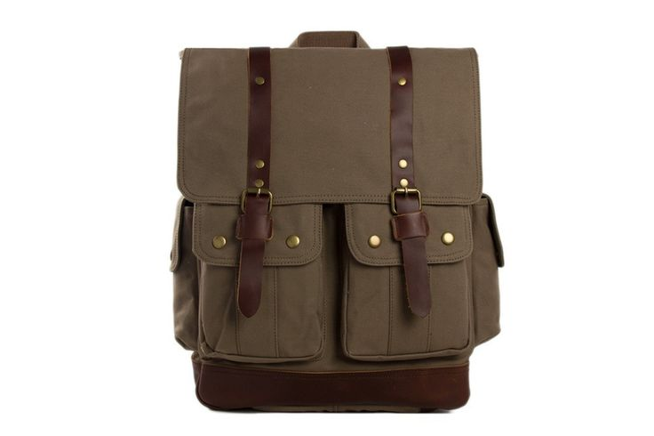 Bags : Handcrafted Waxed Canvas Leather Backpack #bag #backpack #menfashion