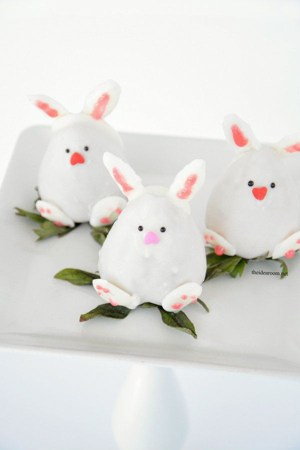 Chocolate Covered Strawberry Easter Bunnies - The Idea Room