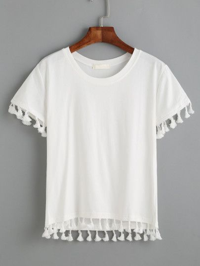 White Tassel Trim T-shirt
