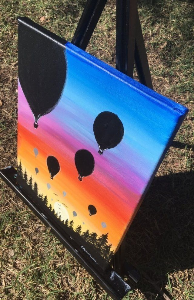 25 + › Wie man einen Sonnenuntergang in Acrylfarben malt – Heißluftballon-Silhouette
