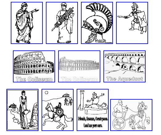 italian art for kids | AS THE ROMANS DO: Roman Colouring pages