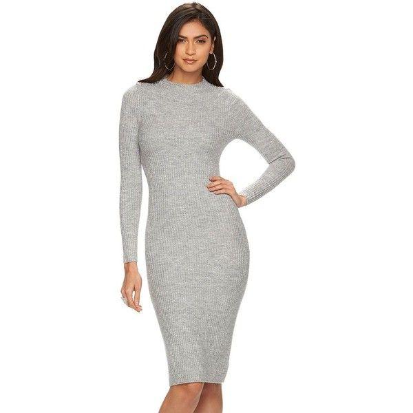 Women's Jennifer Lopez Ribbed Mockneck Sweaterdress ($35) ❤ liked on Polyvore featuring dresses, med grey, long sleeve sweater dress, midi sweater dress, midi dress, grey midi dress and sexy dresses