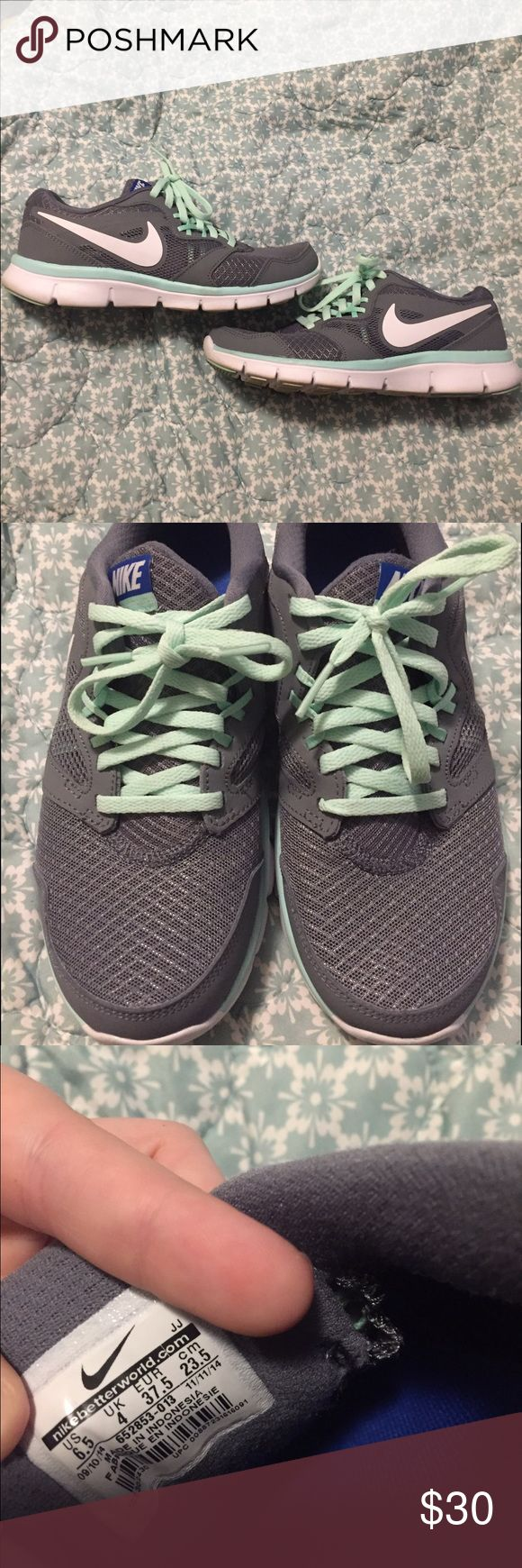 Grey and Mint Nike Size 6.5 grey and Mint women's nikes. Literally worn twice.tread on bottom is fully intact, no tears or pulling. Virtually brand new. My feet grew with my pregnancy so I'm in a 7.5 now and can't wear them. Nike Shoes Athletic Shoes
