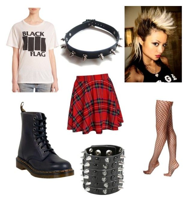 """80s Project- Punk Fashion"" by theradicaljen on Polyvore featuring R13, Hue, Dr. Martens and WithChic"