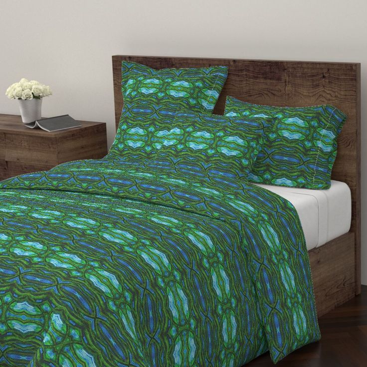 Wyandotte Duvet Cover featuring COLLAGE HORIZONTAL POSIDONIA by joancaronil | Roostery Home Decor