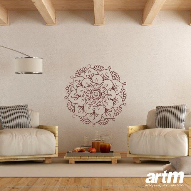 adesivo parede mandala floral
