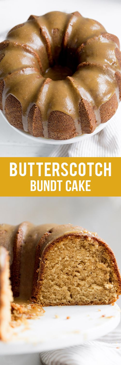 Butterscotch Bundt Cake features a brown sugar sour cream cake drizzled with a thick butterscotch icing for a simple and beautiful fall dessert!