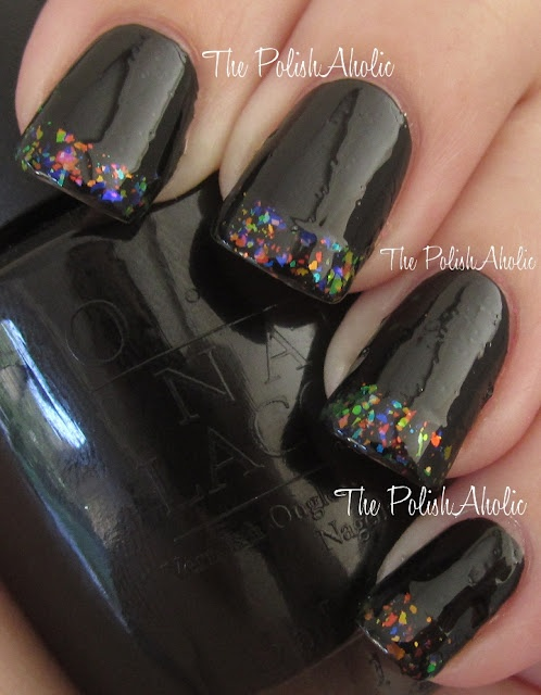 OPI Black Onyx & Nubar Black Polka Dots, with Finger Paints Twisted Tips