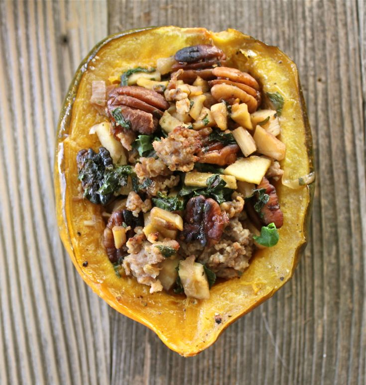 Maple Glazed Acorn Squash stuffed with Sausage, Apples, Parsnips, Kale ...