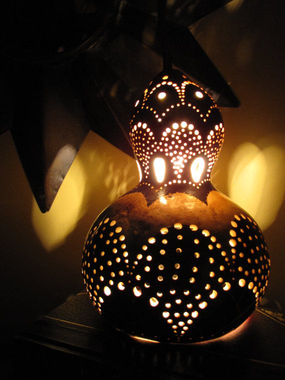 Morrocan Gourd Lamp by TheGoldenGourd on Etsy, $65.00