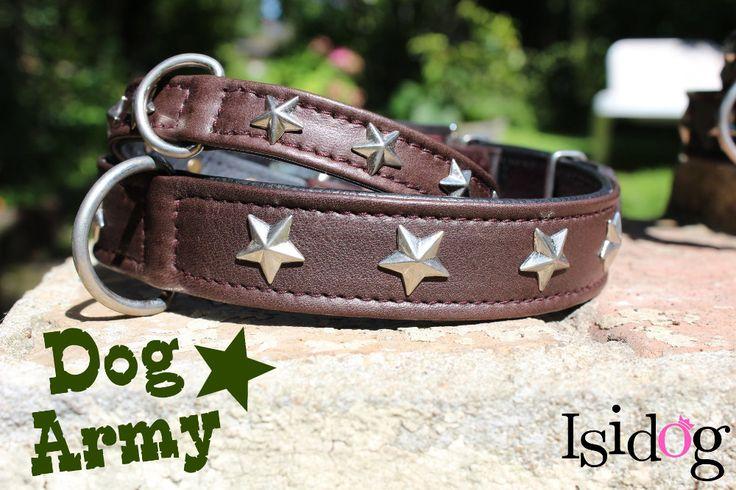 "collier ""army"" chocolat Estil for dog, en cuir véritable ! http://www.isidog.fr/accessoires-pour-promenade-chien/423-collier-stars-chocolat.html"