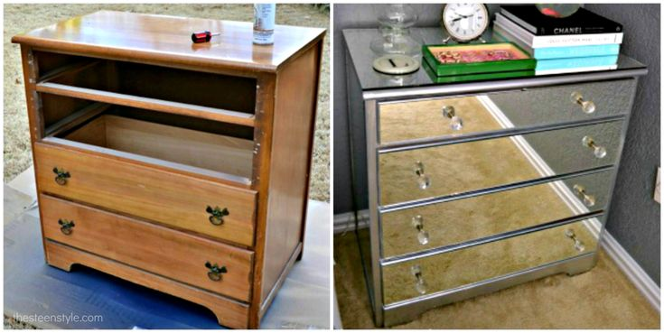 """DIY: Mirrored Nightstand: """"What!!! I wanted a mirrored bedside table, and I looked every where…. but they were all too expensive."""" -Brooke"""