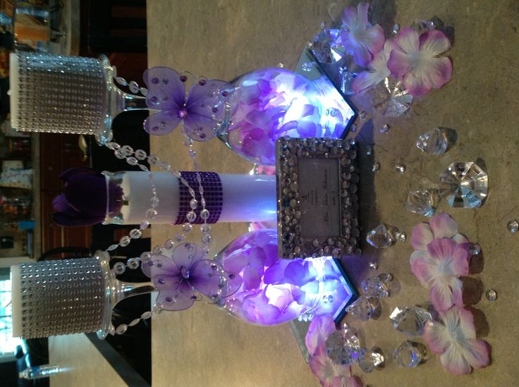 Centerpiece butterfly purple bling my diy stuff