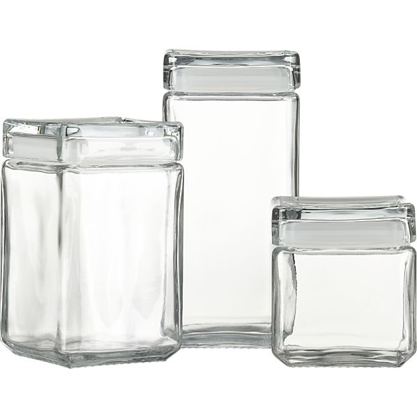 Stackable Glass Storage Jars   Modern   Food Containers And Storage   Crate