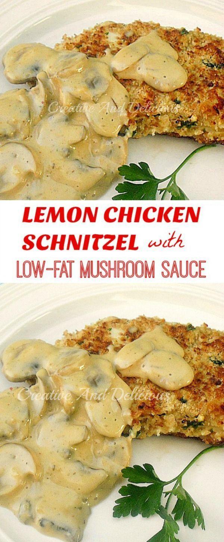 Healthy, tender & juicy Lemon Chicken Schnitzels in a Low-Fat Mushroom Sauce ! #lowfat #chicken #schnitzel