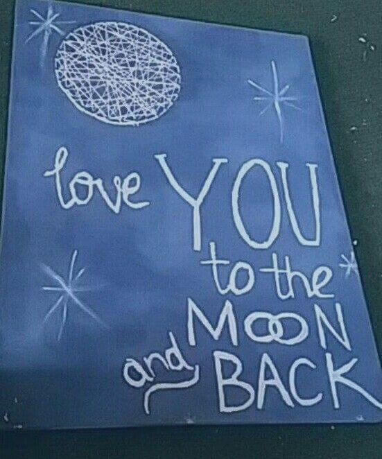 Board i made.  I used taubmans suede paint (background ) british paints (writing) string and nails  (moon)