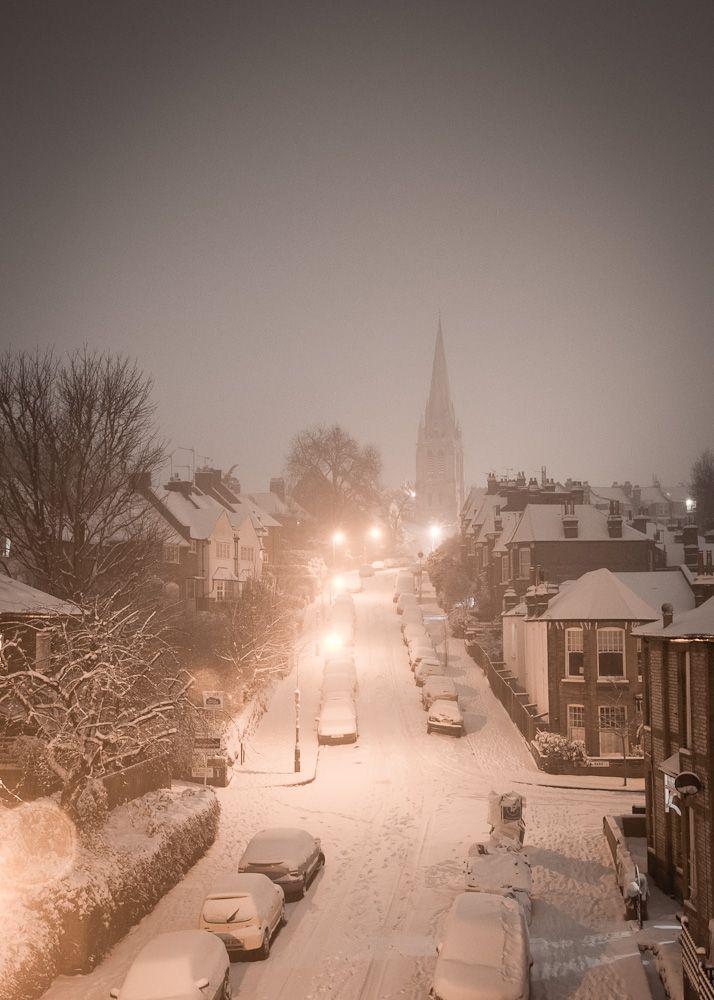 Snowy Night, London, England photo via tammy