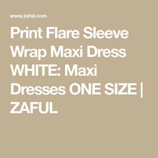 Print Flare Sleeve Wrap Maxi Dress WHITE: Maxi Dresses ONE SIZE   ZAFUL