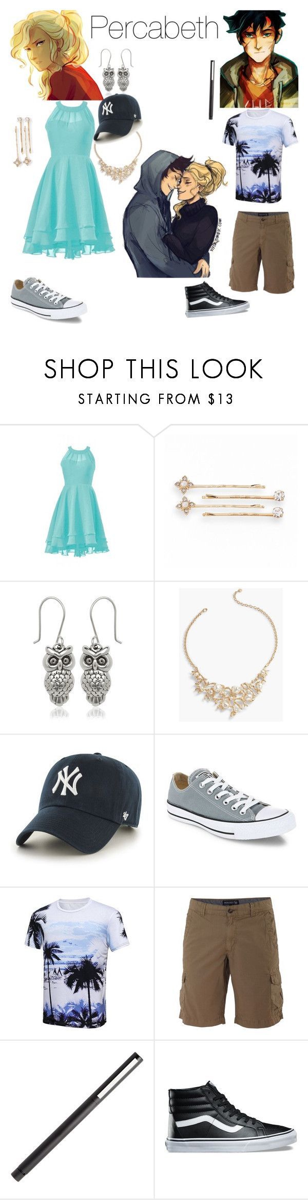 """Percabeth"" by mackieloomis ❤ liked on Polyvore featuring LC Lauren Conrad, Talbots, '47 Brand, Converse, Woolrich and Vans"