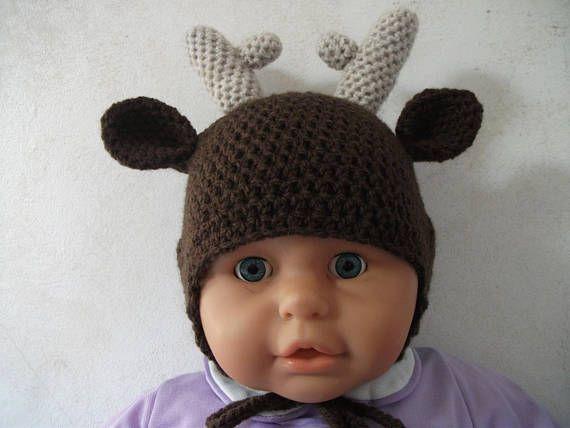 Bonnet cerf fait au crochet taille 12 mois en laine douce